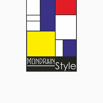 Mondrain Style Blue Red Yellow and Text by Swedos-Artistic