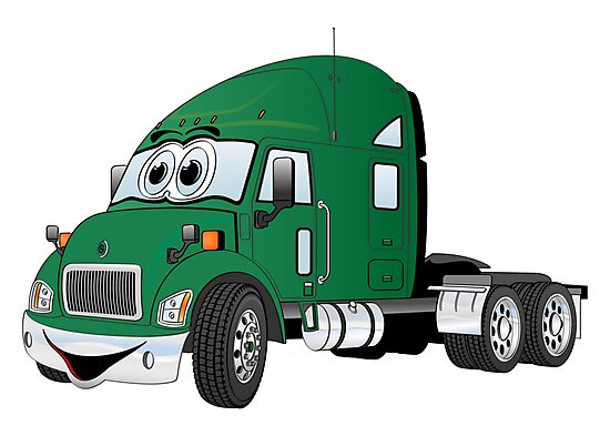 Semi Truck Cab Green by Graphxpro