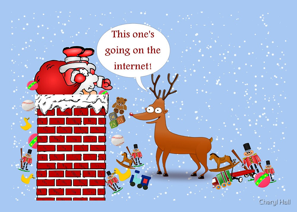 humorous christmas card with santa stuck in chimney and reindeer by cheryl hall - Humorous Christmas Cards