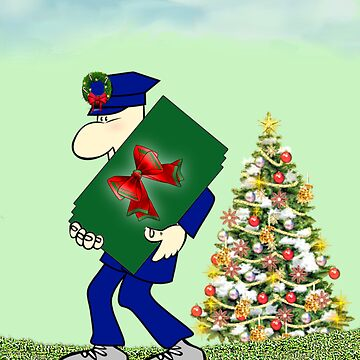 Holiday greetings with postman Merry christmas Season's greetings by cmhall