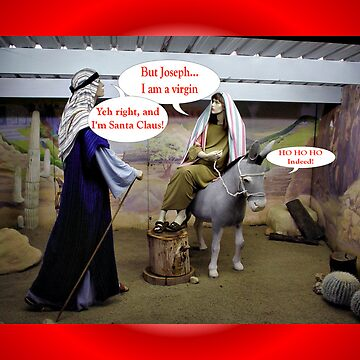 Humorous Christmas card with Mary, Joseph and baby Jesus funny christmas by cmhall