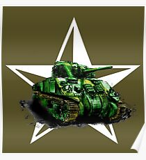 WW2 Sherman Army Tank Poster