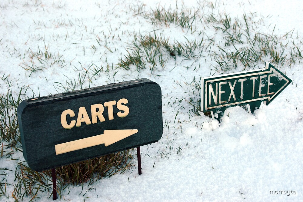 carts and next tee sign on a snow covered golf course by morrbyte