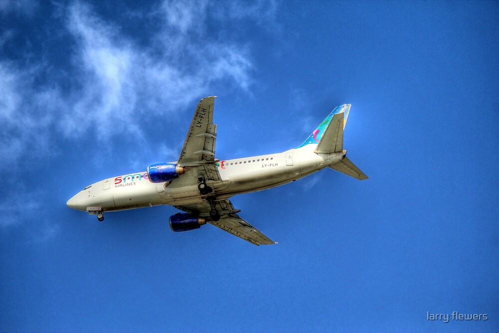 Small Planet Boeing 737-382 by larry flewers