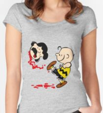Lucy is a punt charlie brown funny nerd geek geeky Women's Fitted Scoop T-Shirt