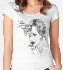Girl with the Cigarette Women's Fitted Scoop T-Shirt