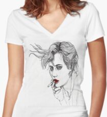 Girl with the Cigarette Women's Fitted V-Neck T-Shirt