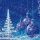 Blue And White Christmas Scene with trees and ornaments by artonwear