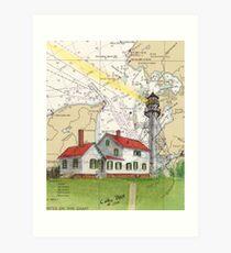 Whitefish Pt Lighthouse MI Chart Map Cathy Peek Art Print