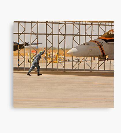Parking an F/A 18 Jet Canvas Print