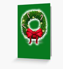 Merry Christmas with wreath and candy cane christmas holiday card Greeting Card