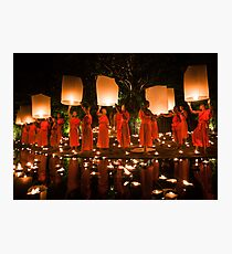 Monks and Lanterns Photographic Print