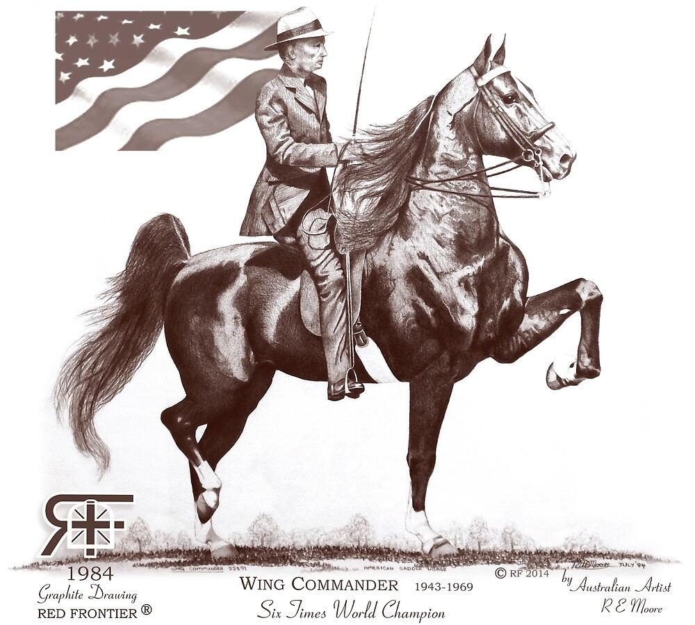red frontier wing commander american saddlebred flag drawing