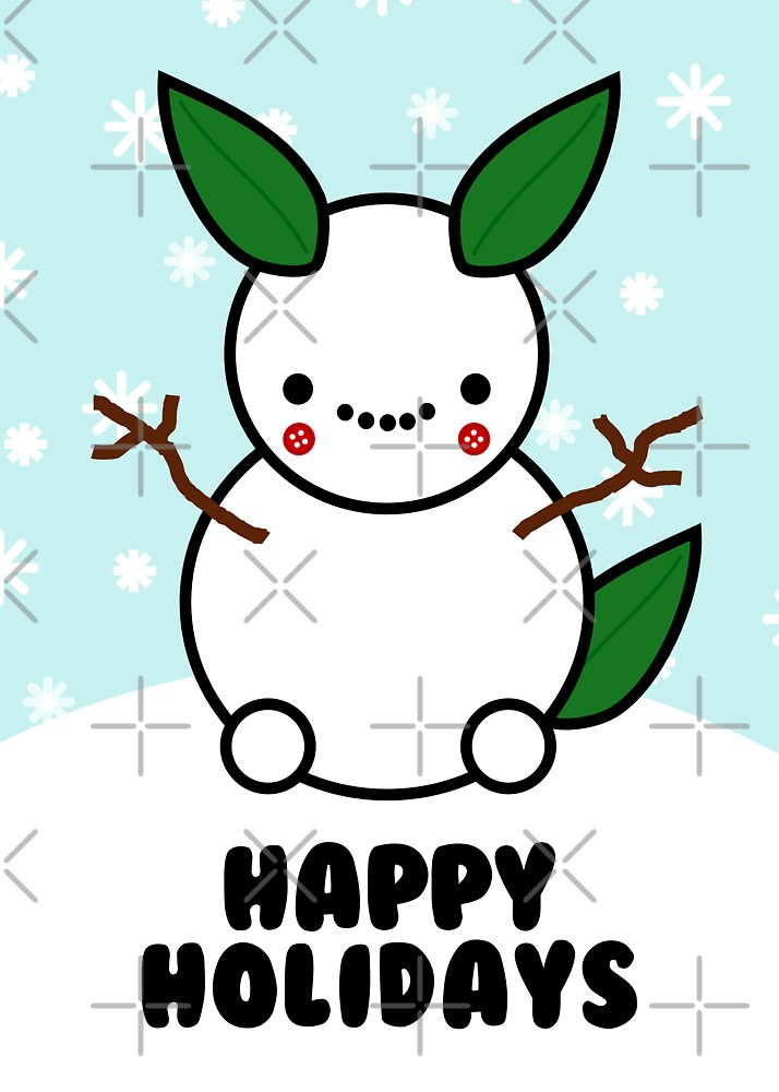 Snowman Pikachu Pokemon Card by hellohappy