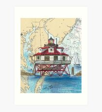 Thomas Pt Shoals Lighthouse MD Map Cathy Peek Art Print