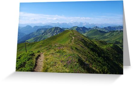 Mountain trail with a view near Damüls, Austria by Claudio Del Luongo