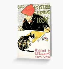 Edward Penfield 1897 calendar with artist and cat Greeting Card