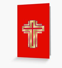 Merry Christmas happy holidays card with cross Greeting Card