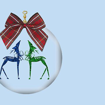 Merry Christmas happy holidays card with reindeer in bauble by cmhall