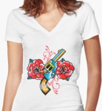 Gun and Roses Tattoo Flash Women's Fitted V-Neck T-Shirt