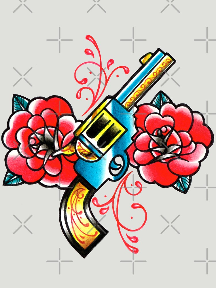 Gun and Roses Tattoo Flash by MissCarissaRose