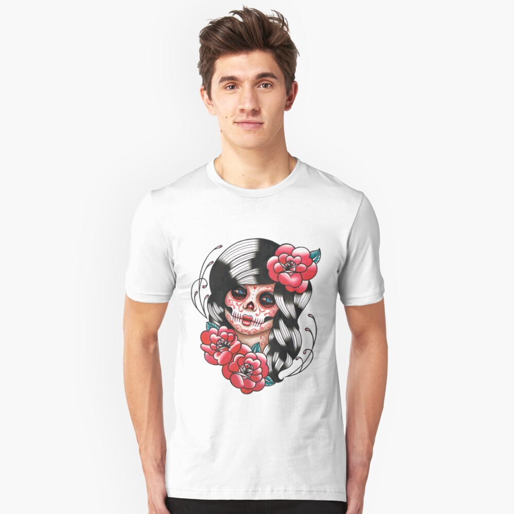Day of the Dead Sugar Skull Girl Tattoo Flash Shirt Unisex T-Shirt Front