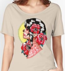 Dia De Los Muertos Sugar Skull Girl Tattoo Flash  Women's Relaxed Fit T-Shirt