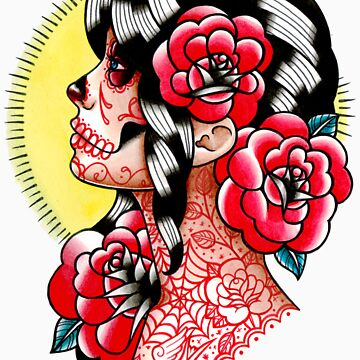 Dia De Los Muertos Sugar Skull Girl Tattoo Flash  by MissCarissaRose