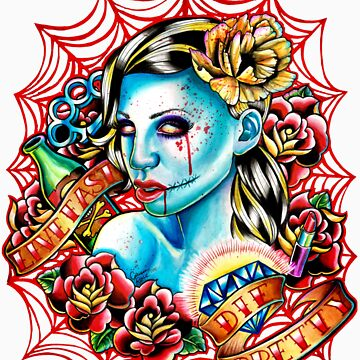 Live Fast Die Pretty Zombie Tattoo Flash by MissCarissaRose