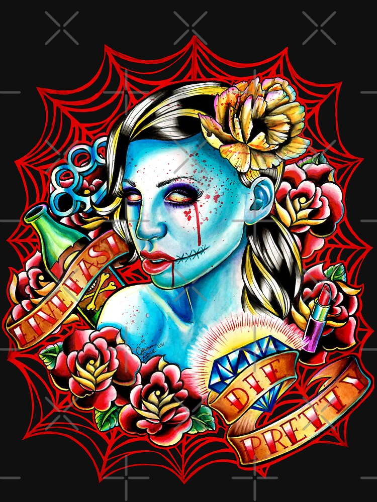 Live Fast Die Pretty Zombie Tattoo Flash by MissCarissaRose