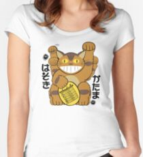 Lucky Catbus Cat Women's Fitted Scoop T-Shirt