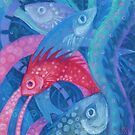 The Spawning, Pink Blue Fish, Underwater Art by clipsocallipso
