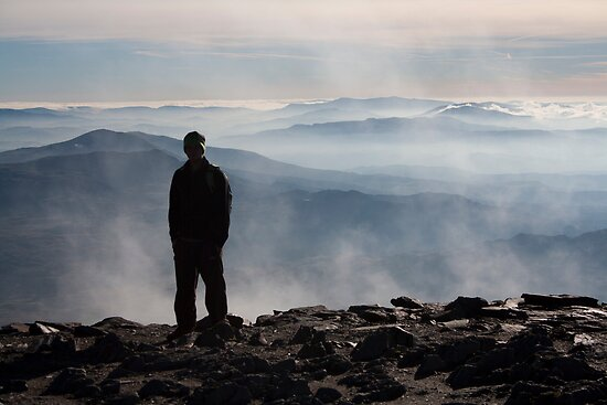 silhouetted on Snowdon by David Cooper