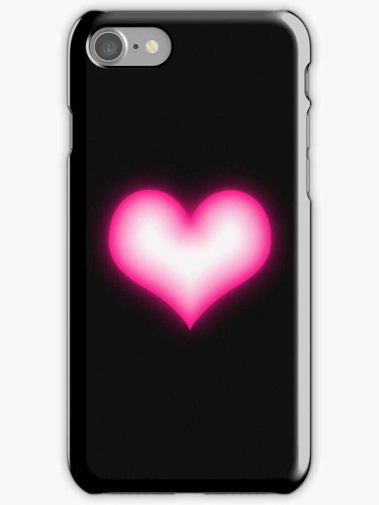 Shiny pink heart on black background by CatchyLittleArt