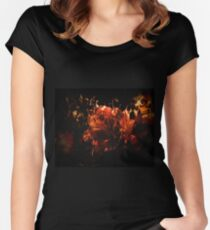 Grunge Design Burning Rose Women's Fitted Scoop T-Shirt