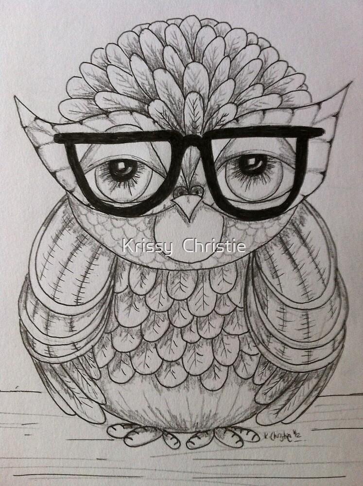 Mondayitis Owl Drawing  by Krissy  Christie