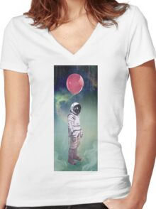 Red Balloon Women's Fitted V-Neck T-Shirt