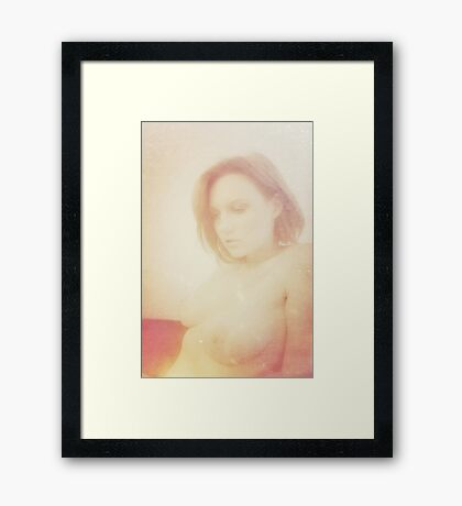 Beautiful vintage young attractive caucasian woman Framed Print