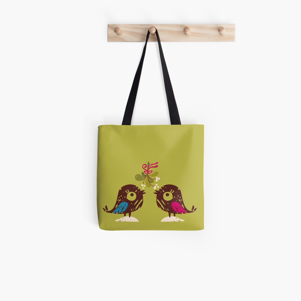 Christmas Love Birds Tote Bag