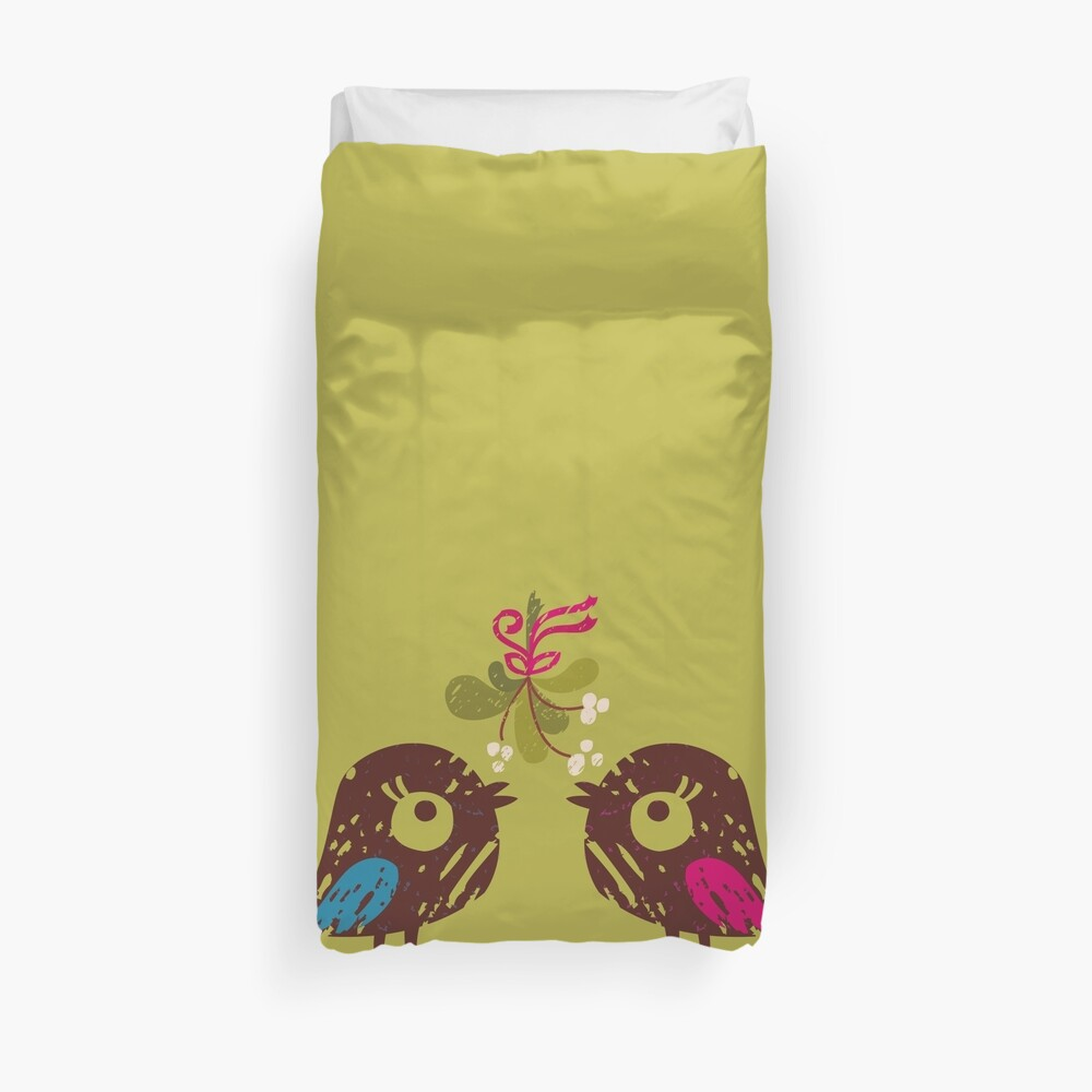 Christmas Love Birds Duvet Cover