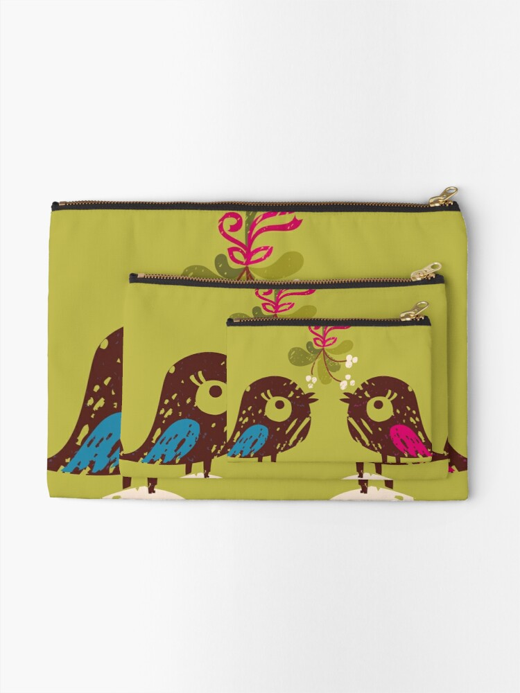 Alternate view of Christmas Love Birds Zipper Pouch