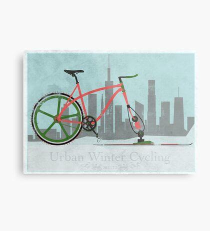 Urban Winter Cycling Metal Print