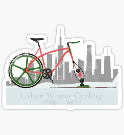 Urban Winter Cycling Sticker