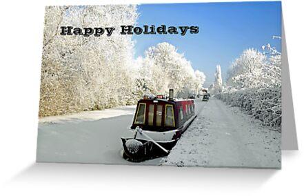 Card - Ice-bound Narrowboats  by Rod Johnson