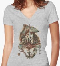 Pirates Women's Fitted V-Neck T-Shirt