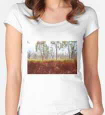 Outback lakeview, off highway between Lightning Ridge and Moree, NSW Women's Fitted Scoop T-Shirt