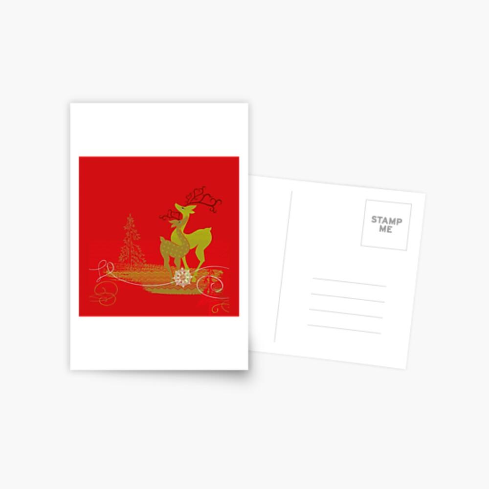 Elegance Couple Deer Postcard