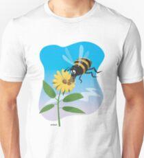 Happy cartoon bee with yellow flower T-Shirt