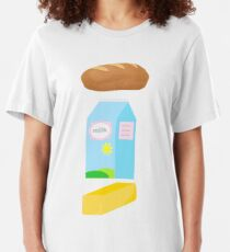 A loaf of bread, a container of milk, and a stick of butter Slim Fit T-Shirt
