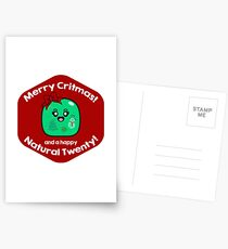 Merry Critmas & Happy Natural 20! Gamer Christmas - Gelatinous Cube Postcards